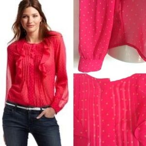 Ann Taylor Loft Fushia Hot Pink Star Ruffle Top B5
